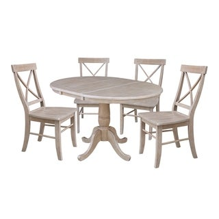 """36"""" Round Extension Dining Table with Four Chairs, Washed Gray Taupe"""