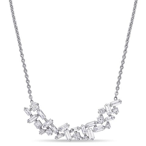 Miadora 14k White Gold 4/5ct TDW Princess and Baguette-Cut Diamond Cluster Bar Necklace