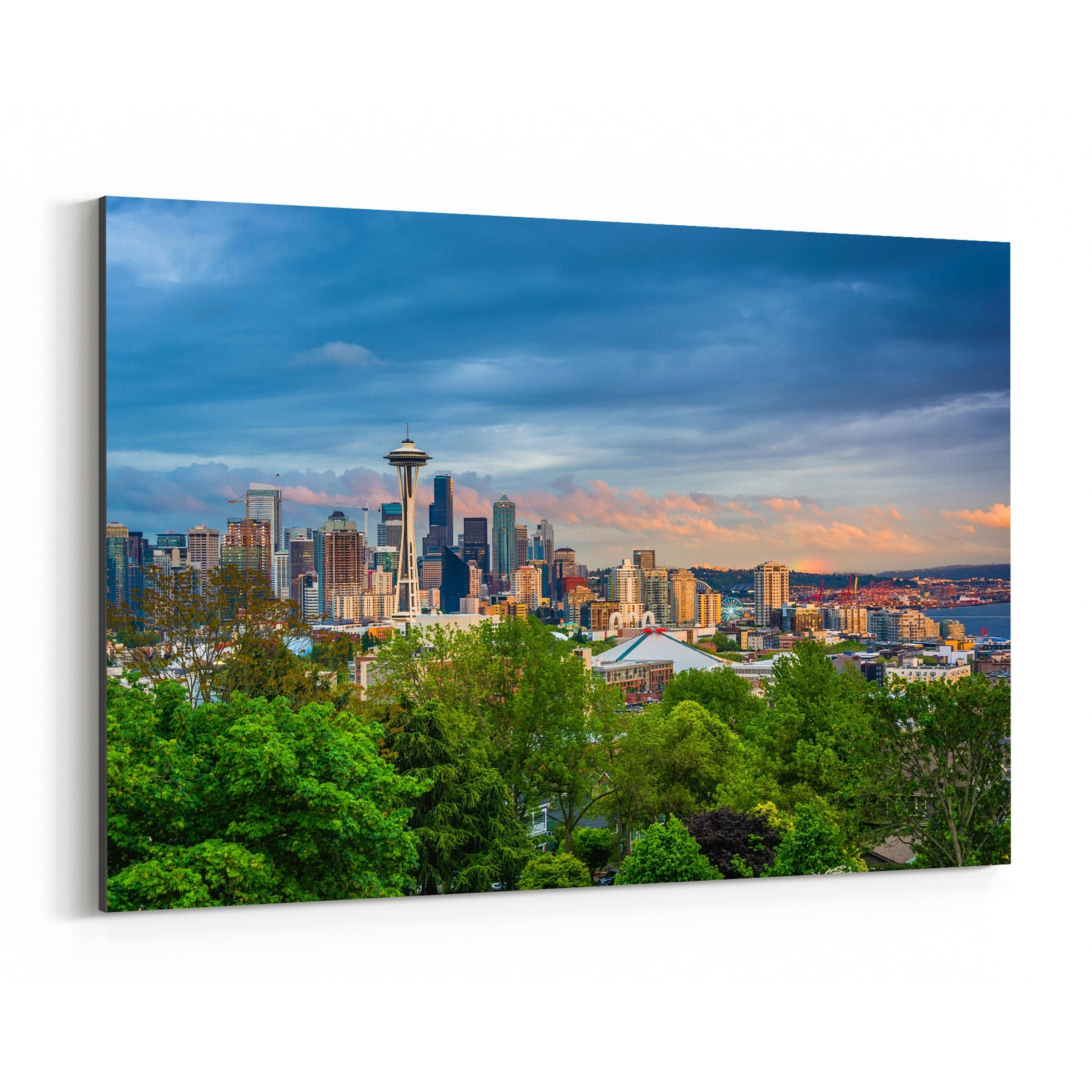 Wall Art Canvas Picture Print Seattle at Night Skyline     1-3.2