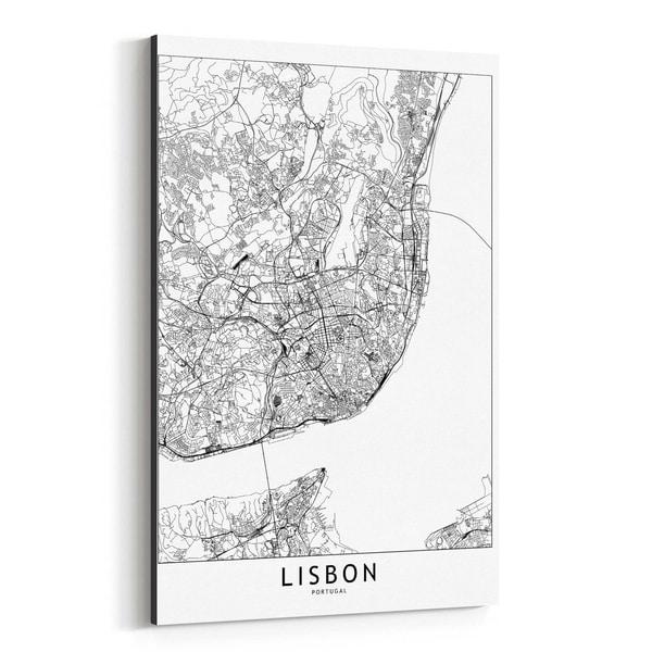 Noir Gallery Lisbon Black White City Map Canvas Wall Art Print