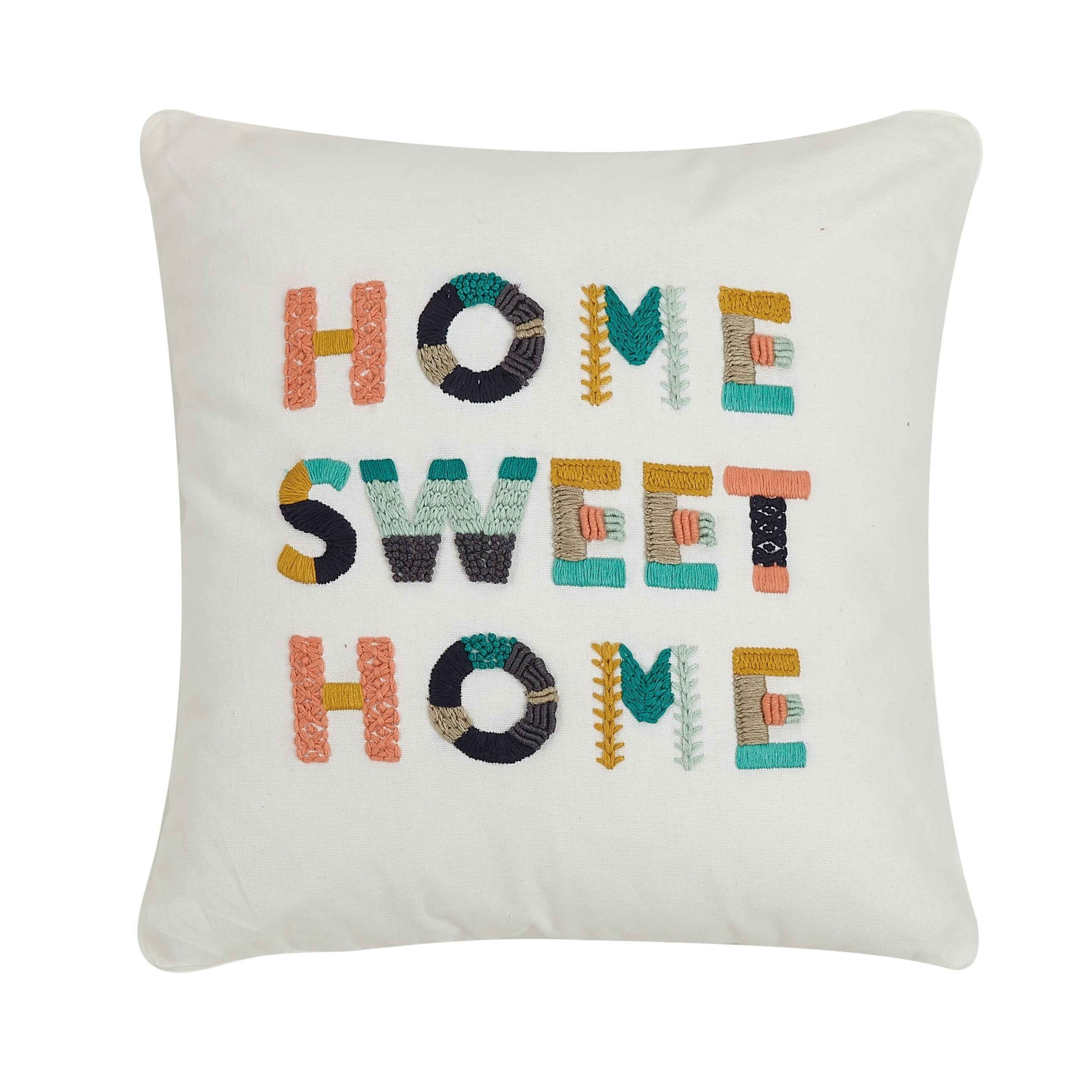 Home Sweet Home Embroidered 16 Inch Decorative Throw Pillow On Sale Overstock 27440816
