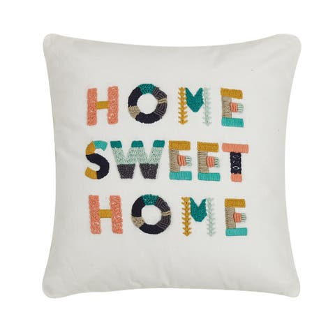 Home Sweet Home Embroidered 16 inch Decorative Throw Pillow