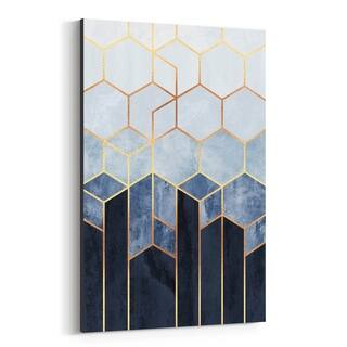 Noir Gallery Abstract Art Deco Geometric Blue Canvas Wall Art Print