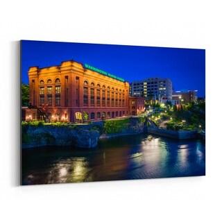 Noir Gallery Spokane Washington Skyline Night Canvas Wall Art Print