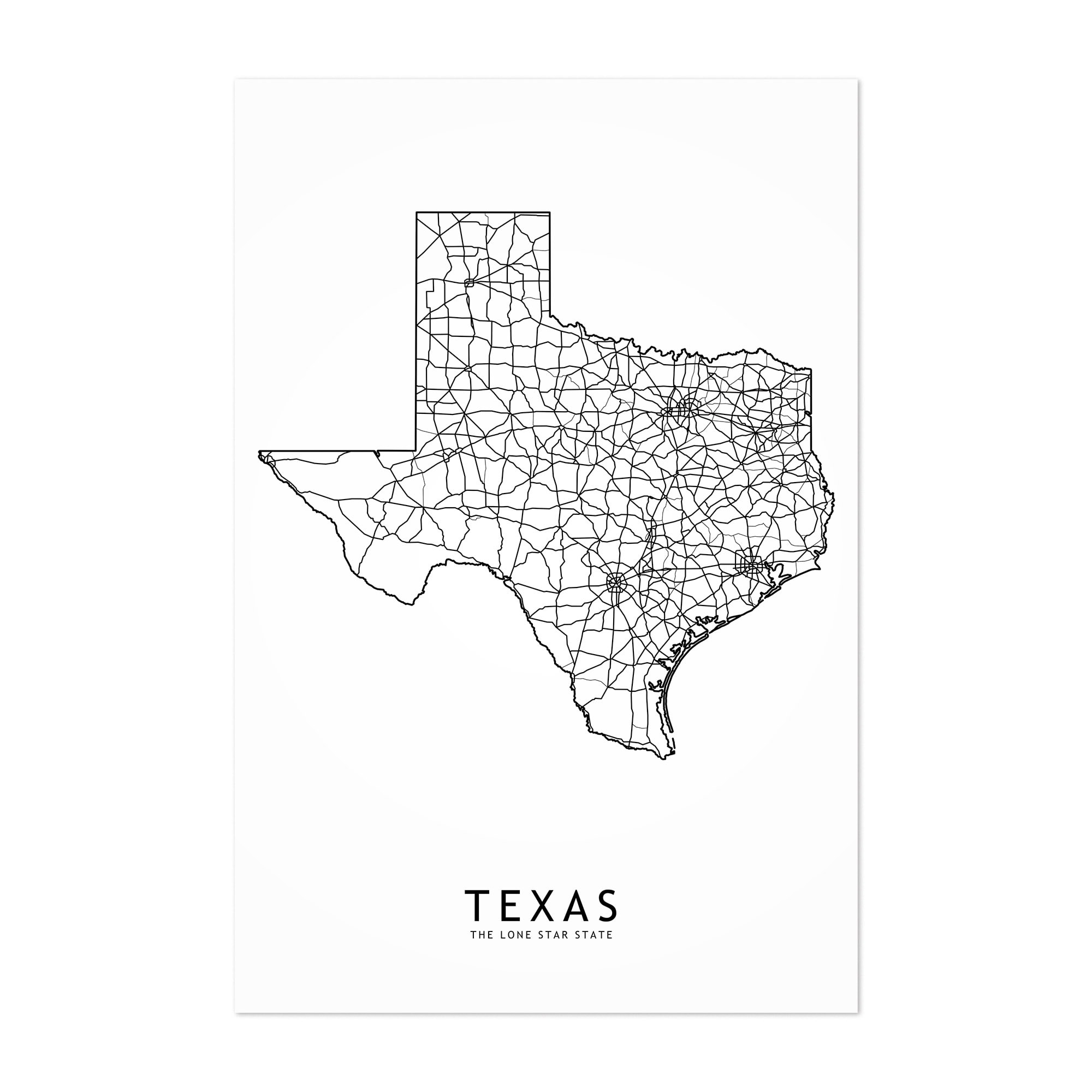 graphic about Printable Maps of Texas called Noir Gallery Texas Black White Country Map Unframed Artwork Print/Poster