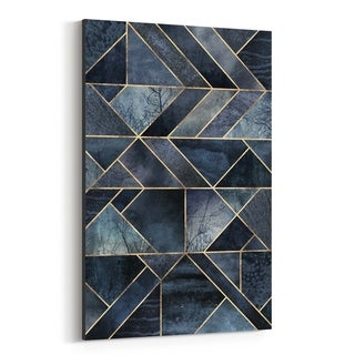 Noir Gallery Black Abstract Nature Geometric Canvas Wall Art Print