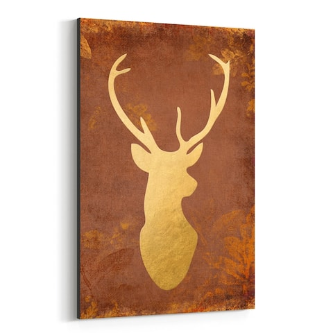 Noir Gallery Rustic Gold Deer Buck Animal Canvas Wall Art Print