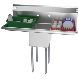 KoolMore 44-Inch Stainless Steel Commercial Kitchen Prep and Utility Sink - 2 Drainboards