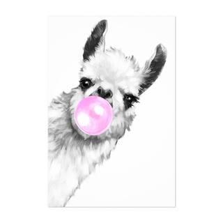 Noir Gallery Cute Pink Llama Peekaboo Animal Unframed Art Print/Poster