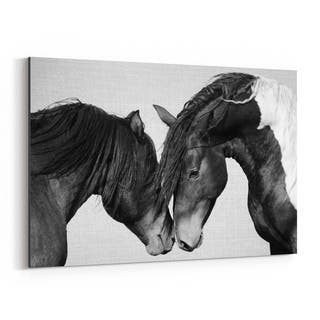 Noir Gallery Horses Nursery Peeking Animal Canvas Wall Art Print