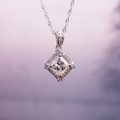 Miadora 7/8ct DEW Princess-cut Moissanite and 1/10ct TDW Diamond Halo Drop Necklace in 10k White Gold
