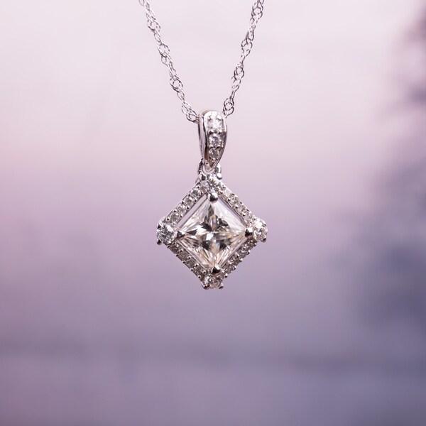 Moissanite by Miadora 10k White Gold 1ct Moissanite and 1/10ct TDW Diamond Halo Necklace