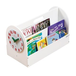 Tidy Books Handmade Portable Wooden Box with Play Clock - White