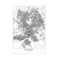 Noir Gallery Riyadh Black & White City Map Unframed Art Print/Poster