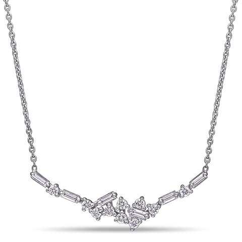 Miadora 14k White Gold 2/5ct TDW Baguette and Round-Cut Diamond Cluster Bar Necklace