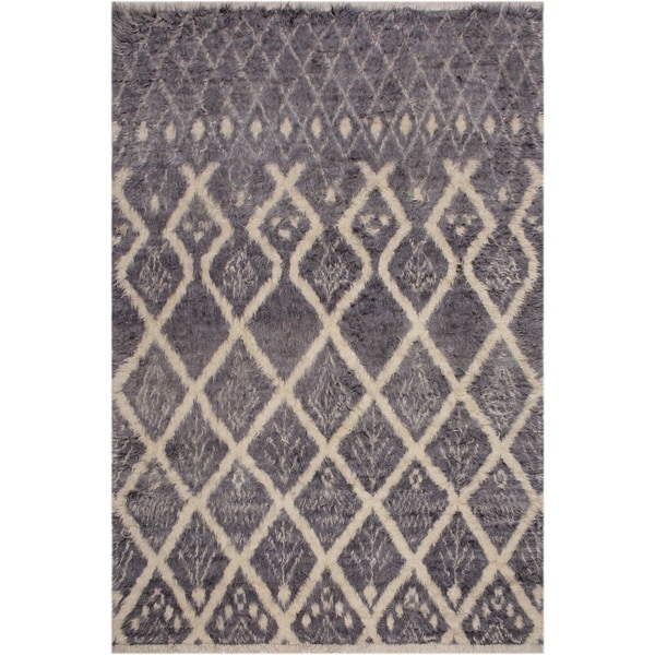 Moroccan Christia Grey/Ivory Wool Rug - 7'10 x 10'4 - 7 ft. 10 in. X 10 ft. 4 in. - 7 ft. 10 in. X 10 ft. 4 in.. Opens flyout.