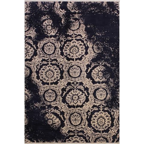 Modern Ziegler Antoinet Blue/Ivory Wool&Silk Rug - 5'0 x 8'2 - 5 ft. 0 in. X 8 ft. 2 in. - 5 ft. 0 in. X 8 ft. 2 in.