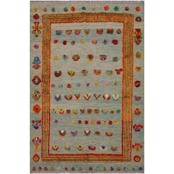 Shop Moroccan High Low Pile Arthur Green Ivory Wool Rug