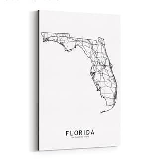 Noir Gallery Florida Black & White State Map Canvas Wall Art Print