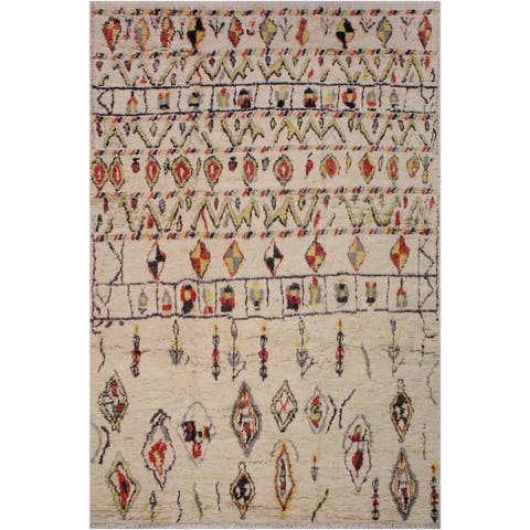 Moroccan Hortensi Ivory/Black Wool Rug - 9'8 x 13'11 - 9 ft. 8 in. X 13 ft. 11 in.