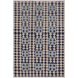 Moroccan High-Low Pile Ernestin Blue/Ivory Wool Rug - 6'6 x 9'3 - 6 ft. 6 in. X 9 ft. 3 in.