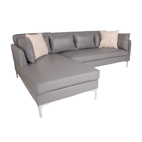 Offex Back Bay Upholstered Accent Pillow Back Sectional with Left Side Facing Chaise in Gray Leather
