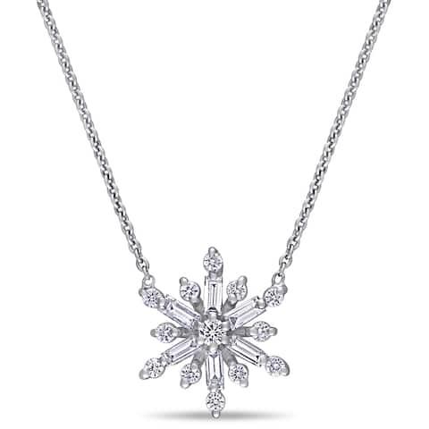 Miadora 14k White Gold 1/2ct TDW Baguette and Round-Cut Diamond Snowflake Necklace