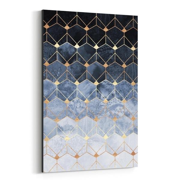 Noir Gallery Blue Abstract Geometric Art Deco Canvas Wall Art Print