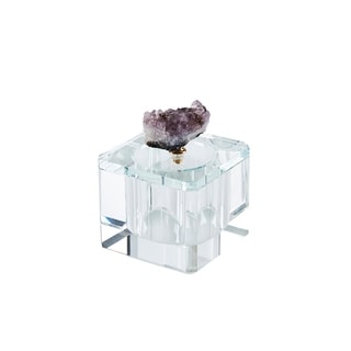 Crystal Square Storage Box Topped with Amethyst Geode, Clear and Purple