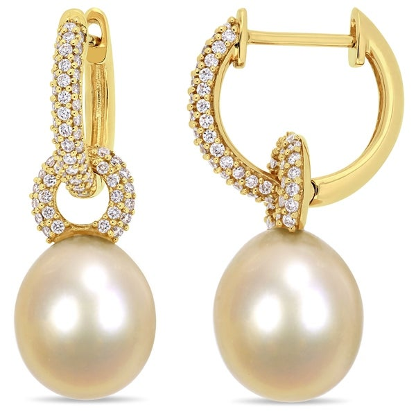 a949556f7 Miadora 14k Yellow Gold South Sea Cultured Pearl 1/2ct TDW Diamond Drop  Hoop Earrings