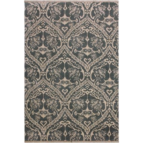 Modern Ziegler Arturo Green/Ivory Wool&Silk Rug - 4'0 x 5'11 - 4 ft. 0 in. X 5 ft. 11 in. - 4 ft. 0 in. X 5 ft. 11 in.
