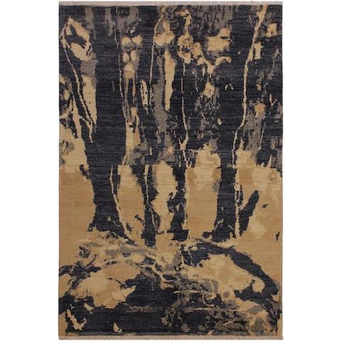 Modern Ziegler Celinda Grey/Ivory Wool Rug - 3'7 x 6'4 - 3 ft. 7 in. X 6 ft. 4 in. - 3 ft. 7 in. X 6 ft. 4 in.