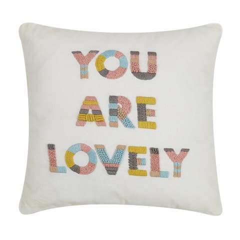You Are Lovely Embroidered 16 inch Decorative Throw Pillow
