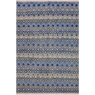 Moroccan High-Low Pile Gwendoly Lt. Blue/Ivory Wool Rug - 6'5 x 9'0 - 6 ft. 5 in. X 9 ft. 0 in.