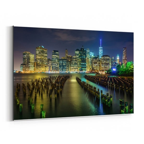MANHATTAN NEW YORK SKYLINE HORIZON CANVAS PRINT PICTURE WALL ART FREE DELIVERY