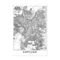 Noir Gallery Santiago Black & White City Map Unframed Art Print/Poster