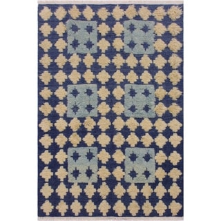 Moroccan High-Low Pile Monserra Blue/Ivory Wool Rug - 5'3 x 7'1 - 5 ft. 3 in. X 7 ft. 1 in.