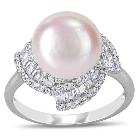 Miadora Sterling Silver Cultured FW Pearl and CZ Swirl Halo Ring (10-11 mm)