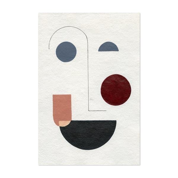 Noir Gallery Abstract Minimal Geometric Faces Unframed Art Print Poster