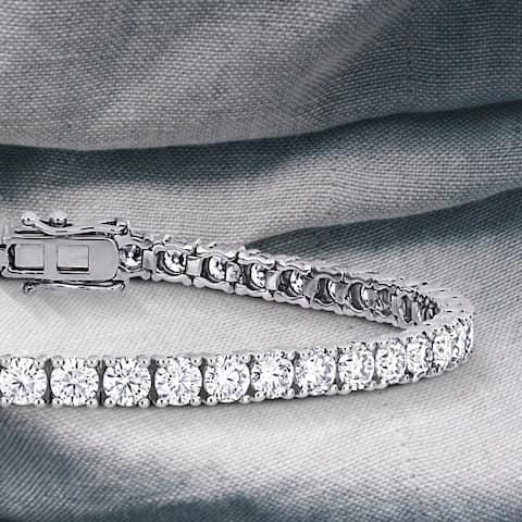 Moissanite by Miadora 14k White Gold 8 1/4ct Moissanite Classic Tennis Bracelet