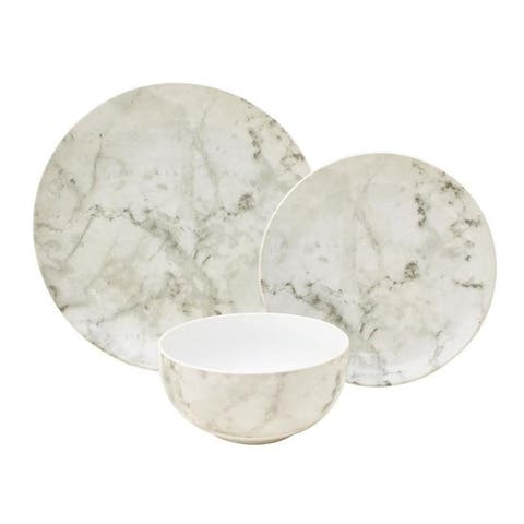 222 Fifth Marble White 12 Piece Dinnerware Set