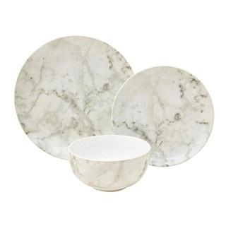 222 Fifth Marble White 12 Piece Dinnerware Set