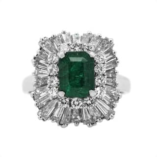 Platinum Emerald and Diamonds Ballerina Cocktail Ring (H-I,VS1-VS2)