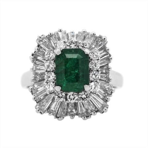 Platinum Emerald and Diamonds Ballerina Cocktail Ring (H-I,VS1-VS2)
