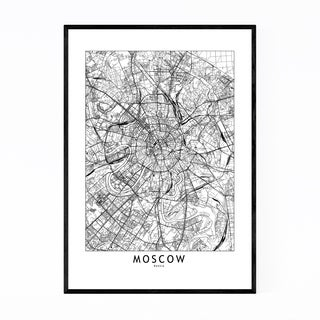 Noir Gallery Moscow Black & White City Map Framed Art Print