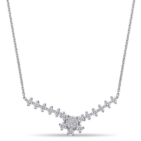 Miadora 14k White Gold 3/4ct TDW Diamond Floral Cluster Bar Necklace