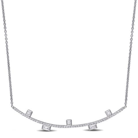 Miadora 14k White Gold 1/3ct TDW Princess and Round-Cut Diamond Stationed Bar Necklace