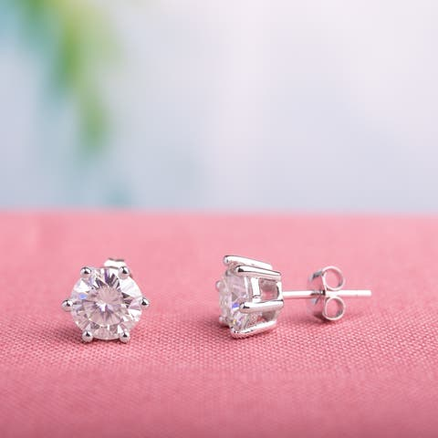 Moissanite by Miadora 14k White Gold 2ct Moissanite Solitaire Stud Earrings