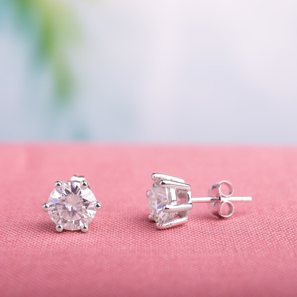Miadora 2ct DEW Moissanite 6-Prong Solitaire Stud Earrings in 14k White Gold - 7.9 mm x 7.9 mm x 4.9 mm. Opens flyout.