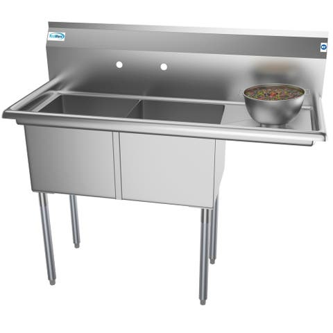 KoolMore 48-Inch Two Compartment Stainless Steel Commercial Prep Sink - Right Drainboard